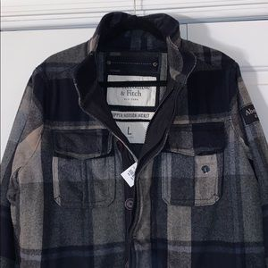 NWT Abercrombie Vintage Plaid Wool Coat Jacket 🔥